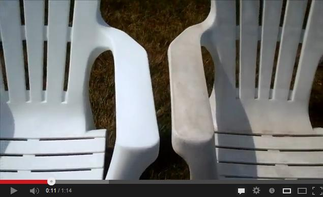 Pressure washing discoloured plastic chairs