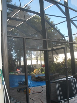 Tampa Pressure Washing Pool Screen - After picture