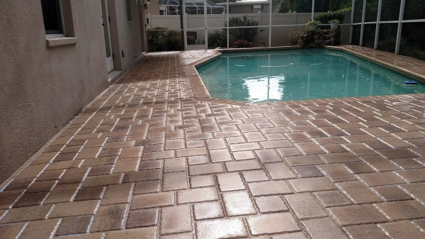 Pool pavers freshly sealed and protected