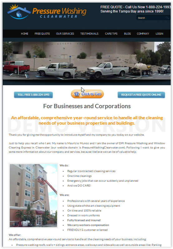 Pressure Washing Clearwater Services for Corporations