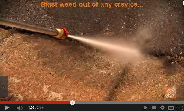 How to use a pressure washer to clean out weed from cracks