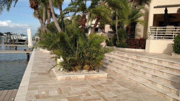Travertine pavers after sealing