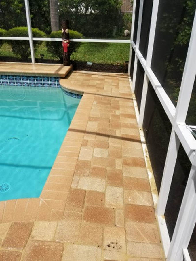 pressure washing clearwater tiled patio after