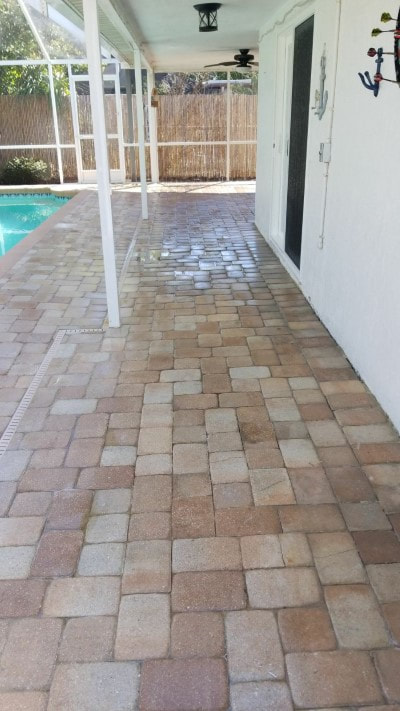 pressure washing patio tiles after