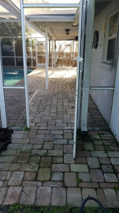 pressure washing patio tiles before