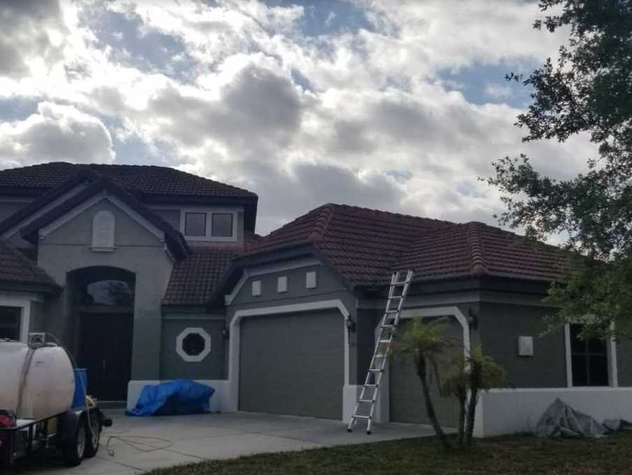 Gently softwashing roofs in Tampa Bay area