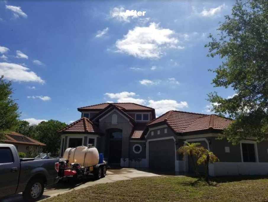 Softwashing roofs in Tampa Bay by DPI