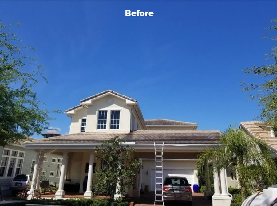 Before softwashing roofs in Tampa Bay area